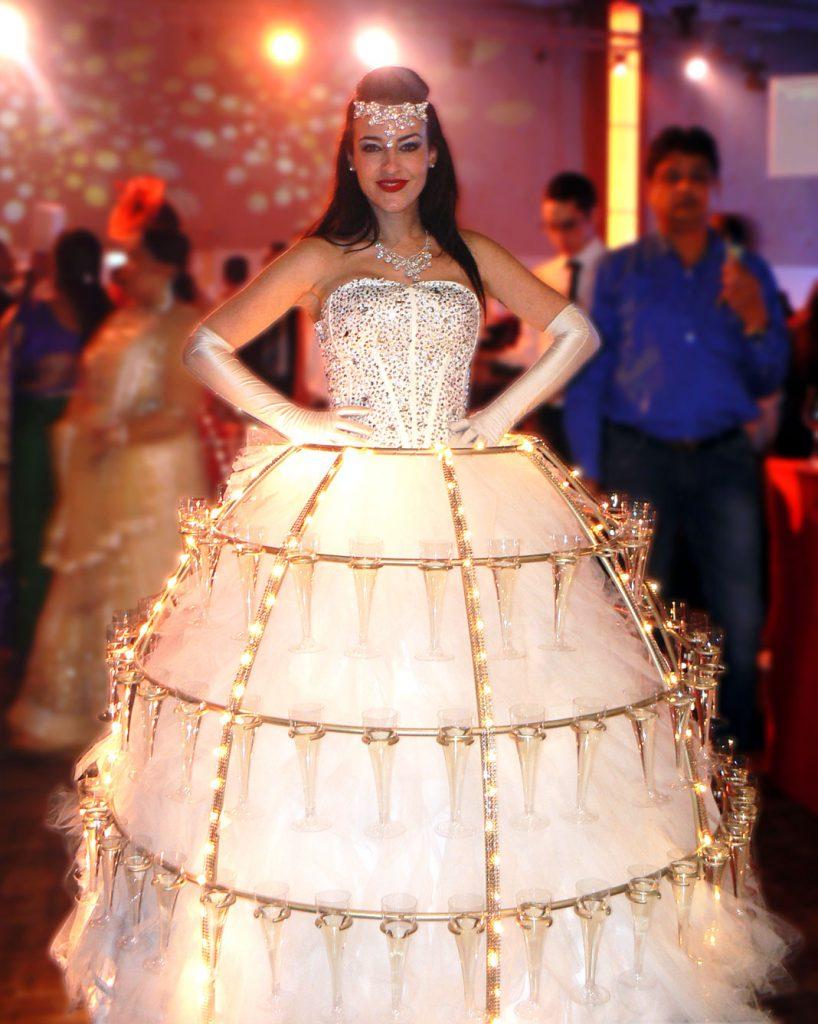 robe à champagne, thème animation indien