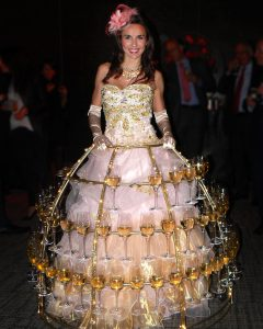 robe à champagne, robe rose clair et or