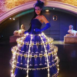 animation événement entreprise robe à champagne