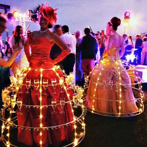 robe champagne cannes, animation sur la croisette cannes champagne